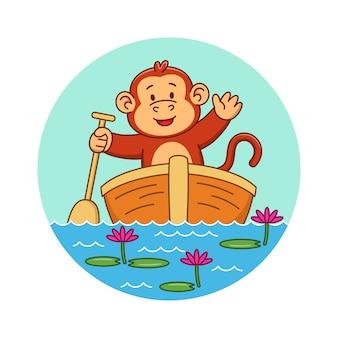 Karikaturillustration eines niedlichen affen auf einem boot