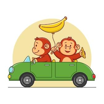 Karikaturillustration eines niedlichen affen, der ein auto fährt