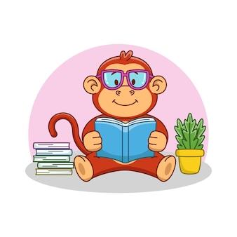 Karikaturillustration eines niedlichen affen, der ein buch liest