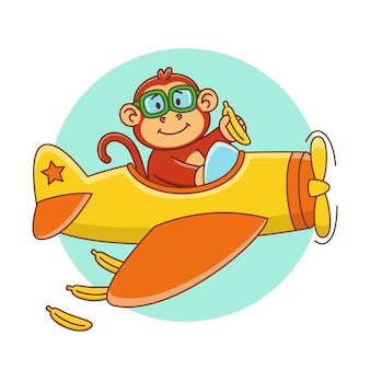 Karikaturillustration eines niedlichen affen, der in einem flugzeug fliegt