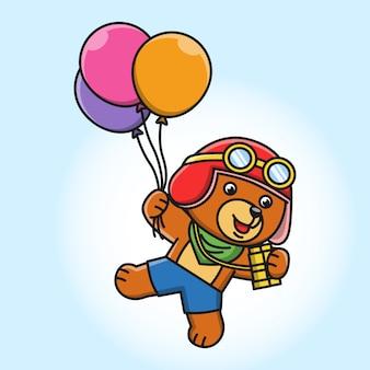 Karikaturillustration eines niedlichen bären, der mit luftballons fliegt