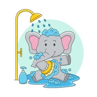 Karikaturillustration eines niedlichen elefanten, der eine dusche nimmt