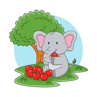 Karikaturillustration eines niedlichen elefanten, der einen apfel isst