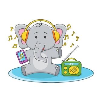 Karikaturillustration eines niedlichen elefanten, der musik hört
