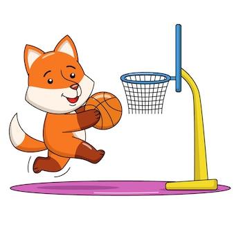 Karikaturillustration eines niedlichen fuchses, der basketball spielt