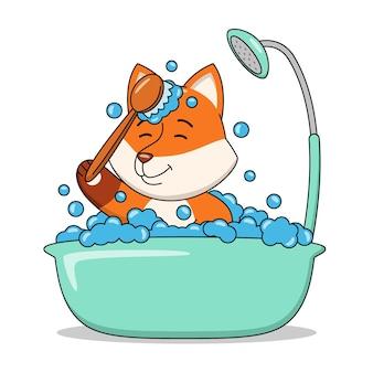 Karikaturillustration eines niedlichen fuchses, der ein bad in der badewanne nimmt
