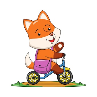 Karikaturillustration eines niedlichen fuchses, der ein fahrrad reitet