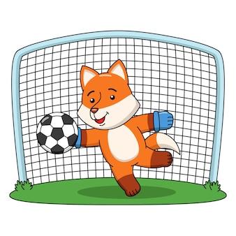 Karikaturillustration eines niedlichen fuchses, der fußball spielt