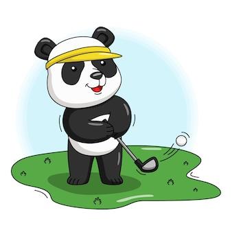 Karikaturillustration eines niedlichen pandas, der golf spielt