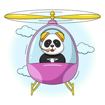 Karikaturillustration eines niedlichen pandas, der in einem hubschrauber fliegt