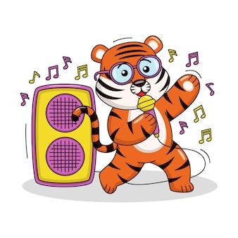 Karikaturillustration eines niedlichen tigers, der ein lied singt