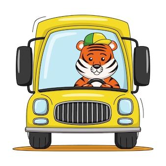 Karikaturillustration eines niedlichen tigers, der ein lkw-auto fährt
