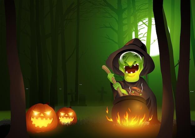 Karikaturillustration eines rührenden zaubertranks der hexe im kessel in den dunklen beängstigenden wäldern, für halloween-thema und -hintergrund