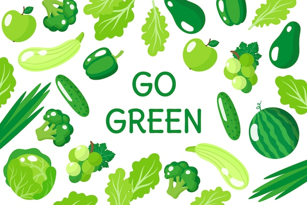 Karikaturillustration gehen grünes plakat mit gesundem grünem essen, gemüse und früchten lokalisiert auf weißem hintergrund