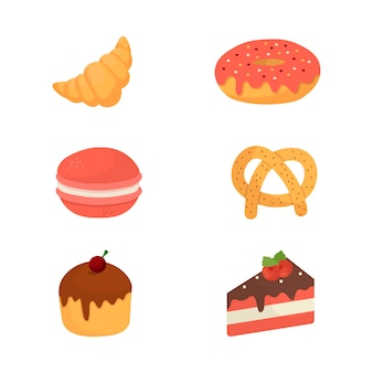 Karikaturillustration mit bäckerei für dekoration. croissant, donut, makrone, brezel, cupcake, kuchen