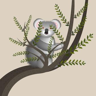 Karikaturillustration mit niedlichem koala auf baum. nette lustige zeichentrickfigur. australisches tier.
