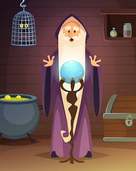 Karikaturillustration mit zubehör des zauberers oder des magiers