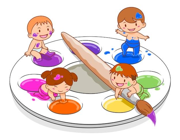 Karikaturillustration von den netten kindern, die in mischender palette der farbe spielen.