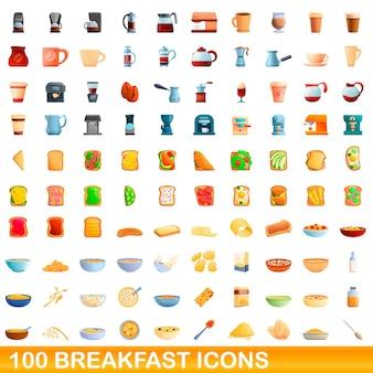 Karikaturillustration von frühstücksikonen gesetzt lokalisiert auf weiß