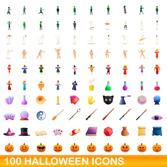 Karikaturillustration von halloween-ikonen gesetzt lokalisiert auf weiß