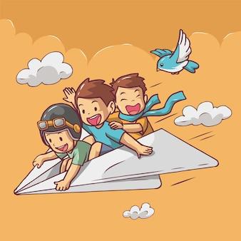 Karikaturillustration von kindern auf einem aufregenden papierflugzeug