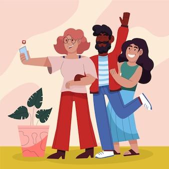 Karikaturillustration von leuten, die fotos mit smartphone machen