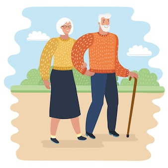 Karikaturillustration von opa mit gehendem stock und älterer frau in stadtparkillustration