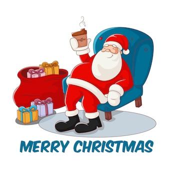 Karikaturillustration von santa claus sitzend auf stuhl.