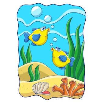 Karikaturillustration zwei fische mit langen flossen, die im ozean schwimmen und springen