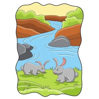 Karikaturillustration zwei kaninchen, die gras am fluss essen