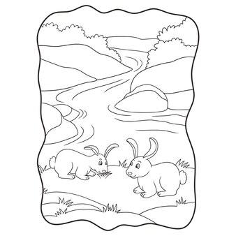 Karikaturillustration zwei kaninchen, die gras am flussbuch oder -seite für kinder schwarz und weiß essen