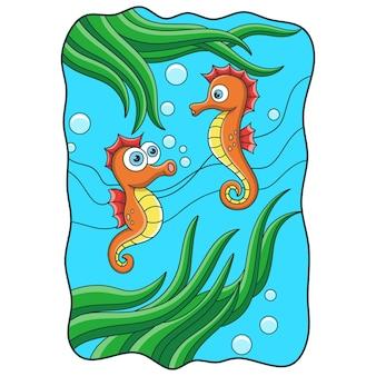 Karikaturillustration zwei seepferdchen, die mit ihren mündern im meer schwimmen und spielen