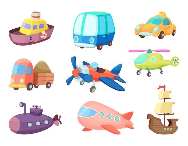 Karikaturillustrationen des verschiedenen transportes. flugzeuge, schiffe, autos und andere. vektorbilder von spielwaren für kinder