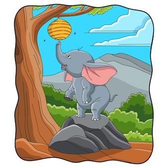Karikaturillustrations-elefant, der versucht, ein bienennest zu nehmen