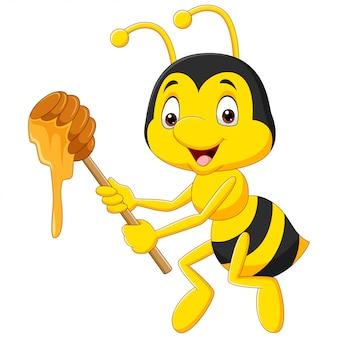 Karikaturillustrationsbiene, die honig hält