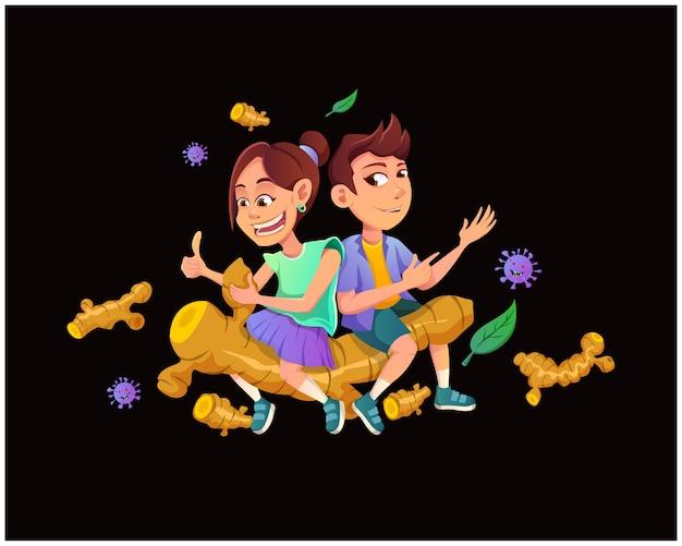 Karikaturillustrationskonzept von kindern, die pflanzliches curcumin verbrauchen, um covid-19 zu verhindern