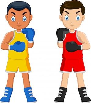 Karikaturjunge bereit zu boxen
