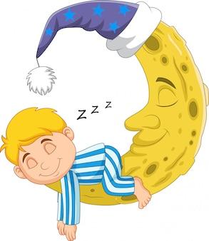 Karikaturjunge, der auf dem mond schläft