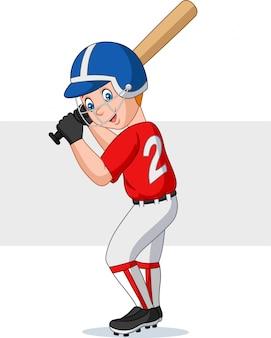 Karikaturjunge, der baseball spielt