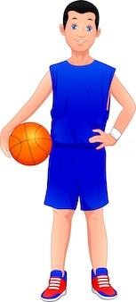 Karikaturjunge, der basketball spielt