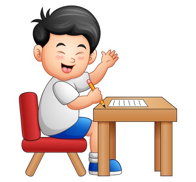 Karikaturjunge, der bei tisch gibt daumen erlernt
