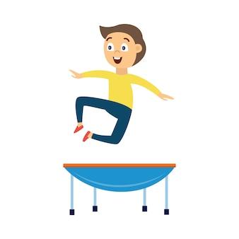 Karikaturjunge, der hoch in luft auf blauem kleinem trampolin springt