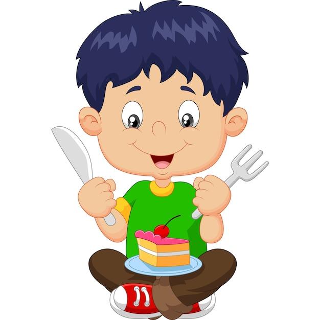 Karikaturjunge, der kuchen isst