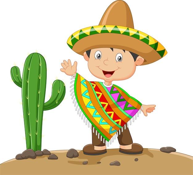 Karikaturjunge, der mexikanisches kleid trägt