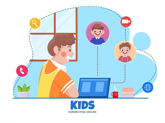 Karikaturjunge, der mit klassenkameradenfreunden vom videoanruf im laptop auf blauem und weißem hintergrund spricht. stoppen sie coronavirus.