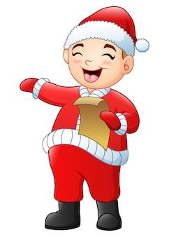 Karikaturjunge, der weihnachtsliede singt