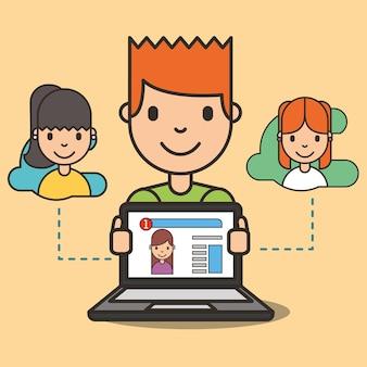 Karikaturjunge mit laptopwebsitemädchen auf dem schirmchatting