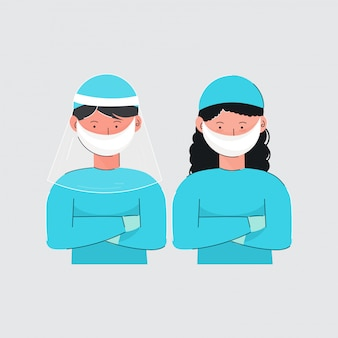 Karikaturjunge und -mädchen, die medizinische schutzuniform auf grauem hintergrund tragen.