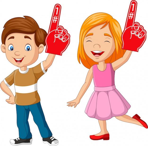 Karikaturjunge und -mädchen, die nummer eins mit dem schaumfinger zeigen