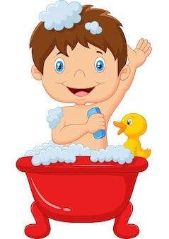 Karikaturkind, das ein bad nimmt